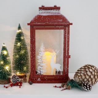 Metall-Laterne mit bedrucktem Glas Weihnachtslaterne Weihnachtsdeko Winterdeko