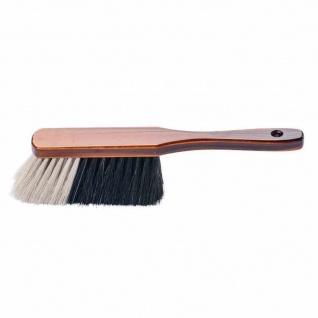 Handfeger Rosshaarmischung 29 cm weißer Bart, braun lackiert
