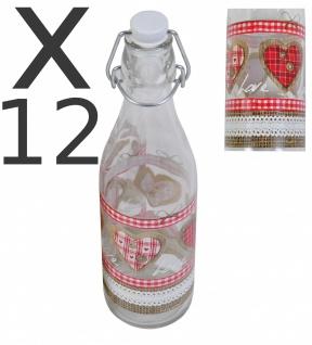 12er Set Lory Flasche 0, 5L Country Love Bügelverschluss Abfüllen Fluppverschluss