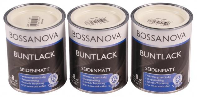 Acryl Buntlack 3x 0, 75 L reinweiß matt Metall Holz Lack Mattlack Decklack weiss