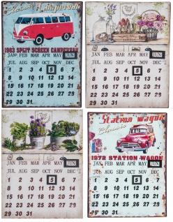 Retro Wandkalender 25x33cm Dekokalender Shabby Chic Vintage-Style Metallkalender Wanddeko