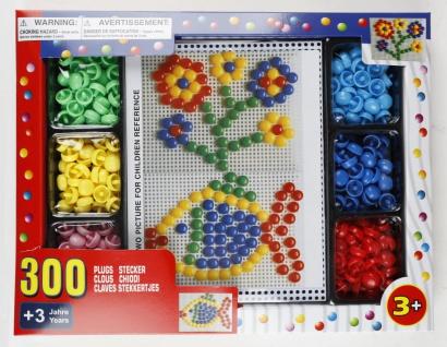 Mosaik-Steckspiel 300 Stecker bunt Steckmosaik Motorik Lernspiel Kinderspielzeug