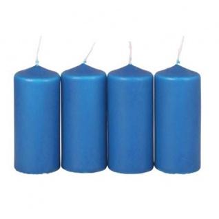 4er-Set Adventskranzkerzen blau Weihnachtskerze Stumpenkerze Wachskerze 38x90mm