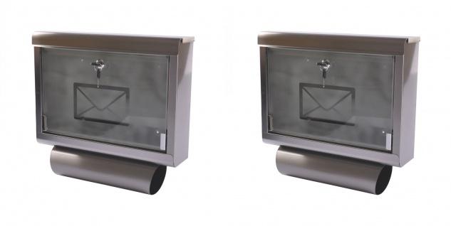 2x Edelstahl Briefkasten + Zeitungsrolle Postkasten Zeitungsfach Wandbriefkasten
