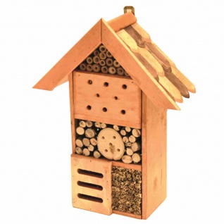 Insektenhotel 32x27x11 Erlenholz/Bambus Insektenvilla Insekten Vogelhaus Garten
