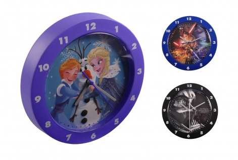 Disney Kinderuhr Frozen Star Wars Wanduhr Kinderzimmeruhr Quarzuhr Uhr 22, 5cm