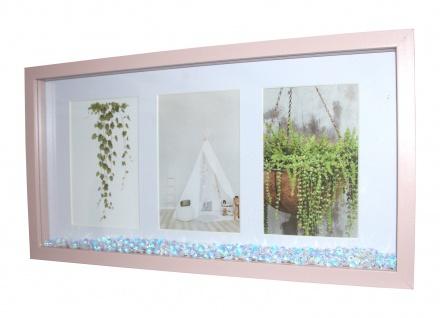 Fotorahmen rosa mit Glitzer-Pailletten 22x42cm Bilderrahmen Foto Rahmen Deko