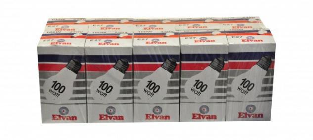 Elvan Glühbirne Glühlampe Lampe E27 100 Watt 10er (1x10 Stück)
