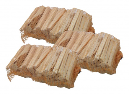 3x Anfeuerholz im Sack getrocknet Anzündholz Brennholz Nadelholz Kiefer Fichte