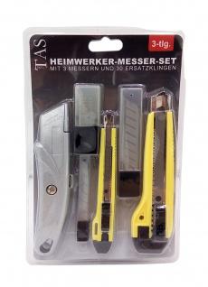 3 Cuttermesser + 30 Ersatzklingen Teppichmesser Heimwerkermesser Trapezklingen