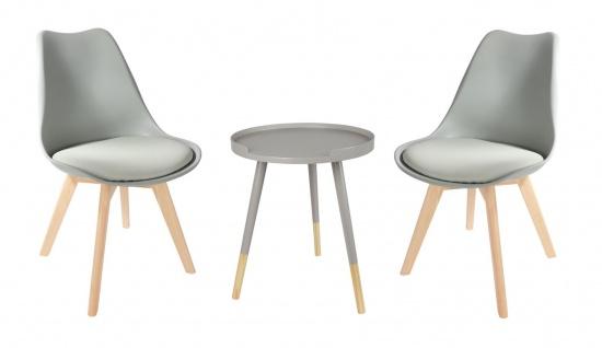 Sitzgruppe grau Beistelltisch Schalenstuhl Set Tabletttisch Esszimmerstuhl Deko