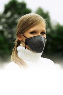 bequeme Kältemaske grau waschbar Kälte Gesichtsmaske 3-lagig Winter Polyester