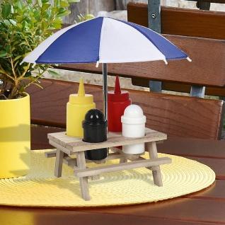 Menage 6-teilig Picknicktisch Gewürzständer Salzstreuer Pfefferstreuer Schirm