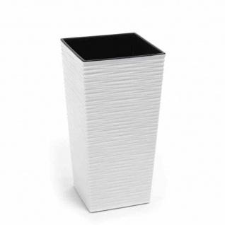 Pflanzgefäß NIZZA, weiß Rillenoptik, 30 x 30 x 57 cm Kunststoffgefäß mit Einsatz