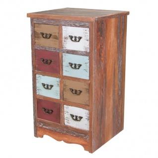 Vintage Holz Kommode Shabby 8 Schubladen Sideboard Schrank Anrichte Standschrank