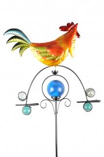 Solar Wetterhahn bunt mit Dekokugel leuchtend Windspiel Beetstecker Gartendeko