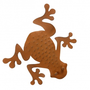 Deko Frosch aus Metall rostbraun Dekofigur Wanddeko Gartendeko Gartenfigur