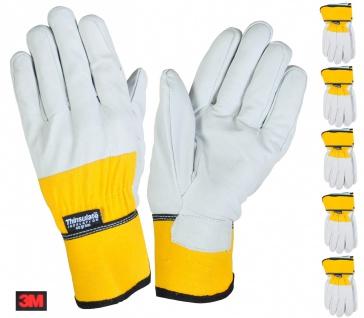 5 Paar Thermo-Arbeitshandschuhe Gr.9 Thinsulate Lederhandschuh Handschuh Montage