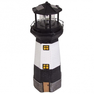 Solar-Leuchtturm 38cm mit rotierendem LED-Licht maritime Gartendeko Terrasse