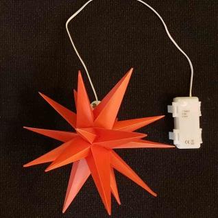 LED Stern Kunststoff rot Ø 25 cm 1 LED warmweiß, Timer 6/18 Stunden, IP44