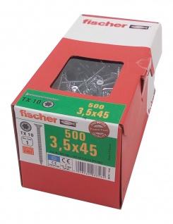 500x fischer Spanplattenschrauben 3, 5x45 TX10 Holzschrauben verzinkt Vollgewinde