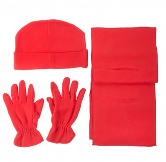 Fleece Winter-Set rot 4-teilig Mütze Schal Handschuhe Wintermütze Universalgröße