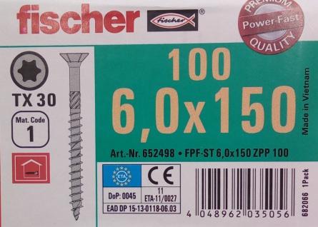 100x fischer Holzbauschrauben 6, 0x150 mm TX30 Holzschrauben verzinkt Teilgewinde - Vorschau 2
