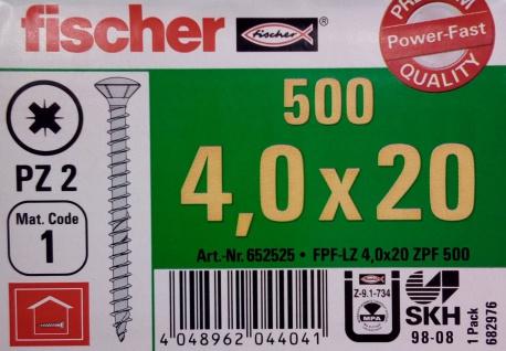 500x fischer Spanplattenschrauben 4, 0x20 PZ2 Holzschrauben verzinkt Vollgewinde - Vorschau 2