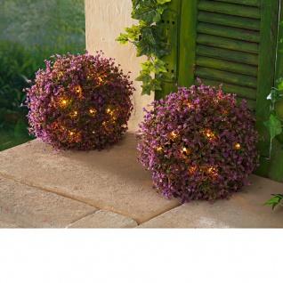 Solar-Blütenkugeln 2er-Set lila 25cm Gartendeko Blüte Kunstblume Solarleuchte