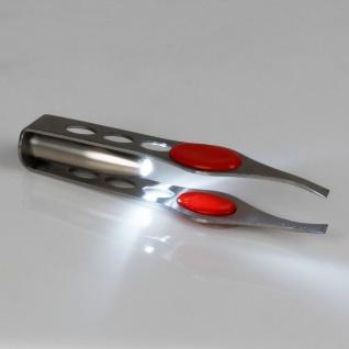 Edelstahl Pinzette mit LED Licht Augenbrauen Zupfpinzette Haarzupfpinzette