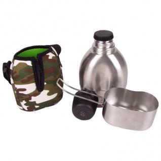 Edelstahl-Feldflasche 700ml Kochbehälter Becher Kompass Trinkflasche Topf Tasche