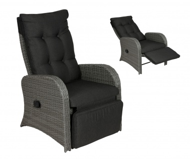 Loungesessel verstellbar grau Relaxsessel Gartensessel Liegestuhl Gartenstuhl