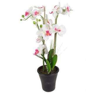 Weiße Deko Orchidee 55cm Kunstpflanze Zimmerpflanze im Porzellantopf künstlich