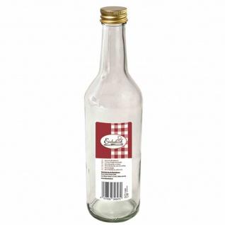 """Gradhalsflasche """" Einkochwelt"""" 500 ml mit goldener Verschraubung"""