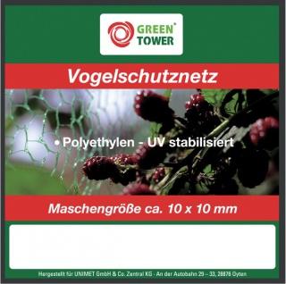 """GREEN TOWER GT Vogelschutznetz ,, Basic"""" Vogelschutz- Netz 10x2m 6mm"""