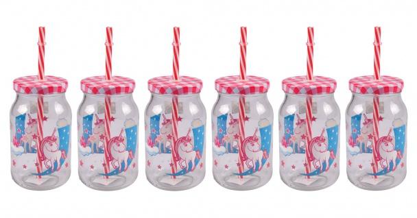 Kinder-Trinkglas 6er-Set mit Trinkhalm Unicorn Einhorn Kinderglas Saftglas 450ml