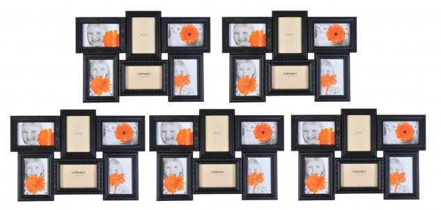 Antike Collage-Bilderrahmen 5er-Set Fotorahmen Multirahmen Fotogalerie schwarz