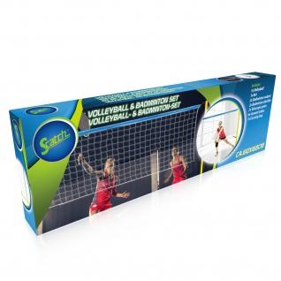 Scatch Volleyball- und Badminton-Set Netz Federball Schläger Garten Strand Sport