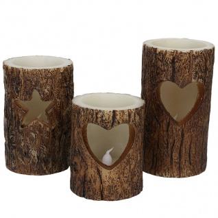 LED-Windlichter Baumstamm 3er-Set Weihnachtskerzen Dekokerze Wachskerze Kerzen - Vorschau 2