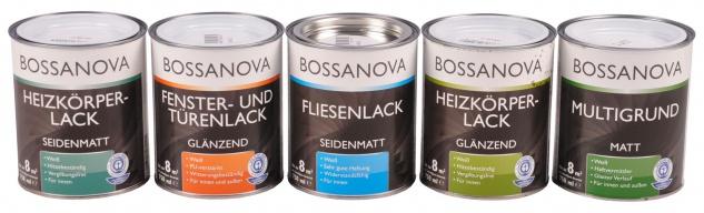 Bossanova Lack 750ml weiß Heizkörperlack Fensterlack Türenlack glänzend matt