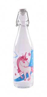 Drahtbügelflasche 500ml Unicorn Einhorn Glasflasche Bügelflasche Bügelverschluss
