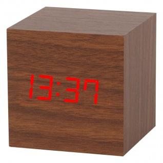 LED-Wecker Holzoptik 3 Weckzeiten Thermometer Kalender Sparmodus Touchfunktion