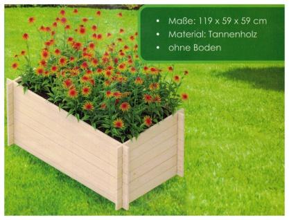 Hochbeet aus Tannenholz natur 119x60x59cm Pflanzkasten Kräuterbeet Blumenkasten