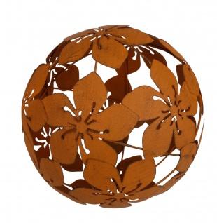 Metall Dekokugel Blüten Rostbraun 21cm Gartenkugel Gartendeko Metalldeko Blumen