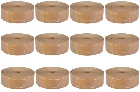 12er Set Nassklebeband m 2 Längs & 1 Sinusfaden ohne Kern Papier braun 6cm x200m