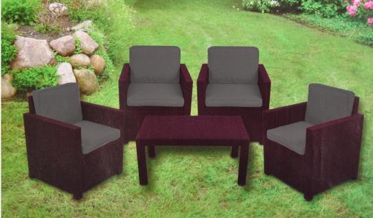 Auflagen-Set Grau 8-teilig Sitzkissen Rückenkissen Sesselauflage Stuhlkissen