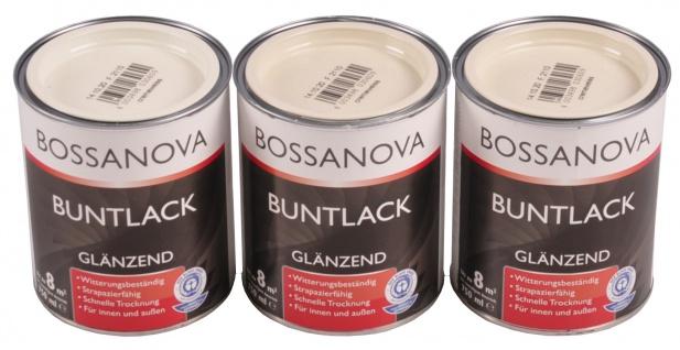 Acryl Buntlack 3x 0, 75 L cremeweiß glänzend Metall Holz Lack Glanzlack Decklack
