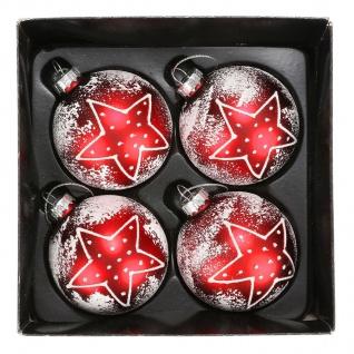 Glas-Weihnachtsbaumkugeln Stern 4er-Set Christbaumschmuck Weihnachtsdeko 6cm