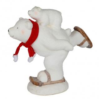 Deko-Figur Eisbär auf Schlittschuh 44x39x21cm Tierfigur Weihnachtsdeko Tischdeko - Vorschau 2