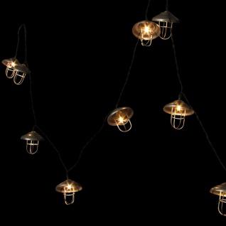 LED-Solar-Lichterkette Metall-Laterne 3, 8m Gartenbeleuchtung Terrasse Dekolicht
